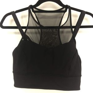 Lululemon Black Sports Bra W/Sheer Detail Size 10